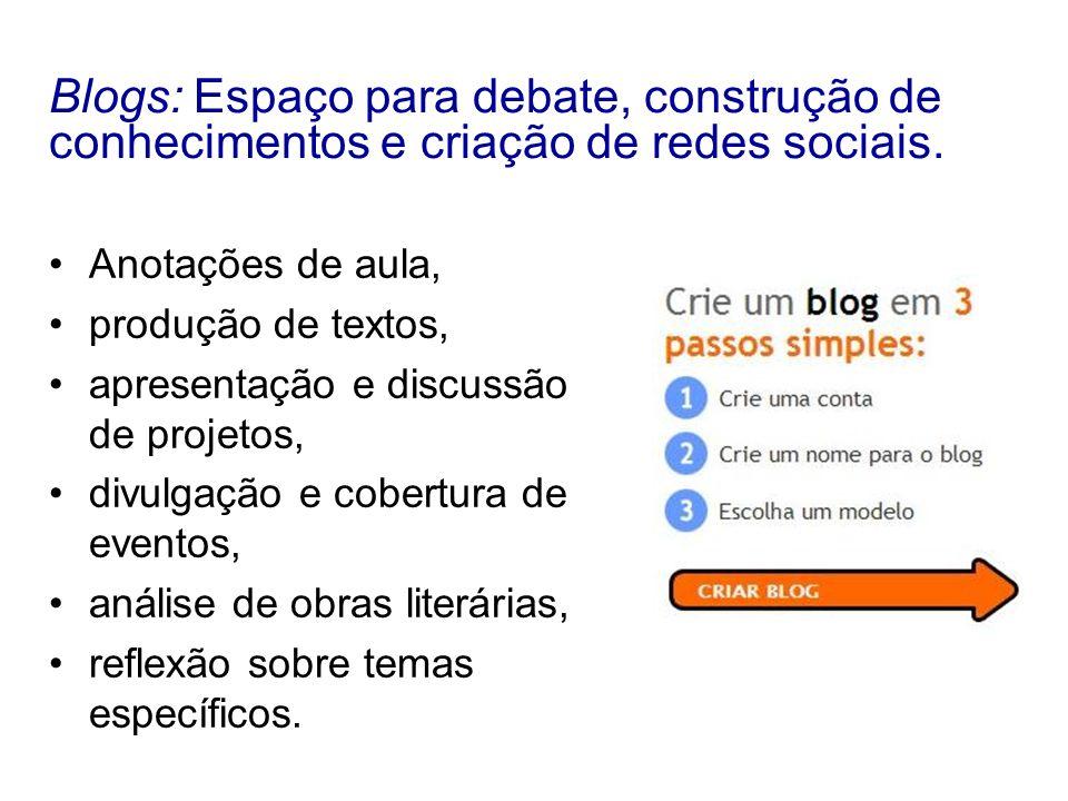 Blogs: Espaço para debate, construção de conhecimentos e criação de redes sociais.
