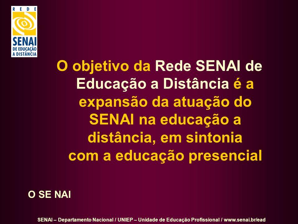 O objetivo da Rede SENAI de Educação a Distância é a expansão da atuação do SENAI na educação a distância, em sintonia com a educação presencial