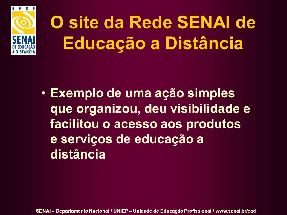 O site da Rede SENAI de Educação a Distância