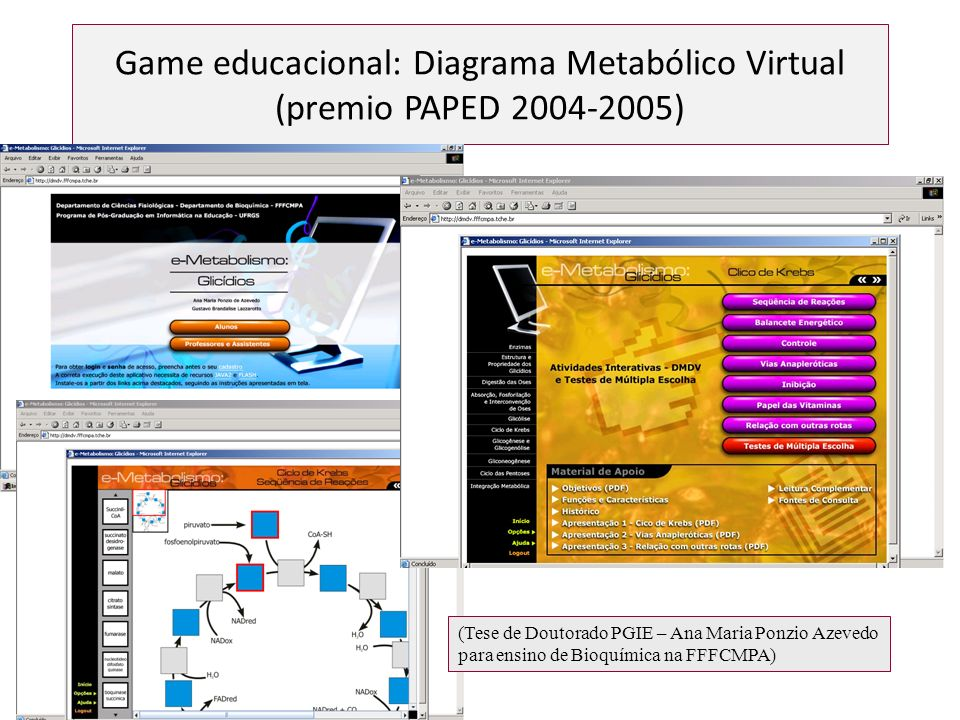 Game educacional: Diagrama Metabólico Virtual (premio PAPED 2004-2005)