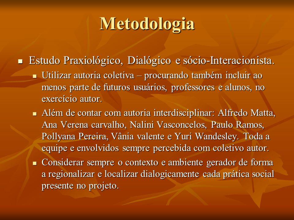 Metodologia Estudo Praxiológico, Dialógico e sócio-Interacionista.