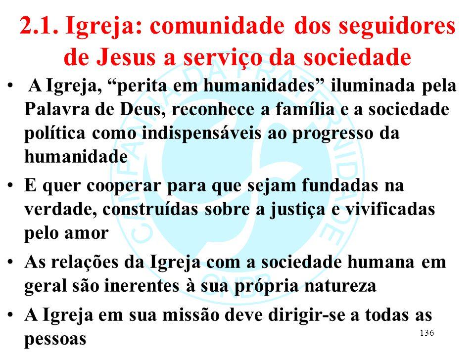 2.1. Igreja: comunidade dos seguidores de Jesus a serviço da sociedade