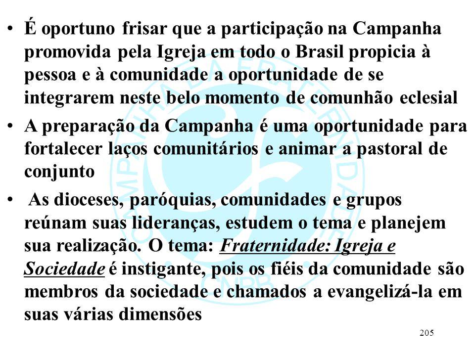 É oportuno frisar que a participação na Campanha promovida pela Igreja em todo o Brasil propicia à pessoa e à comunidade a oportunidade de se integrarem neste belo momento de comunhão eclesial