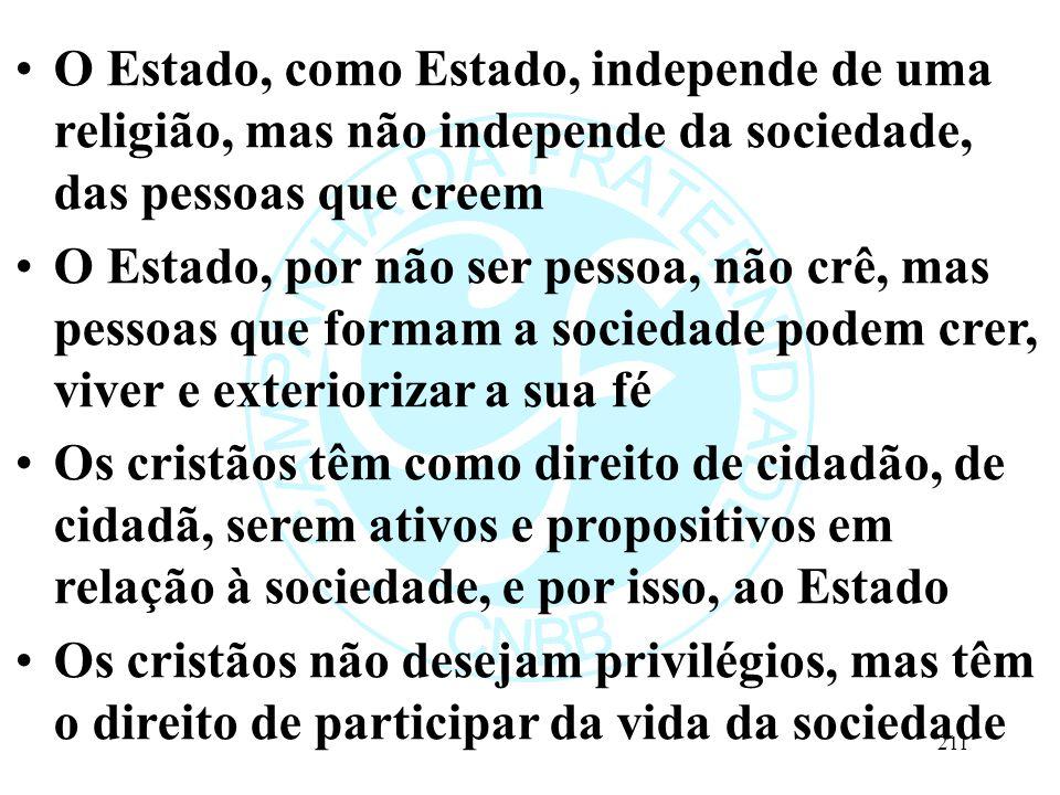 O Estado, como Estado, independe de uma religião, mas não independe da sociedade, das pessoas que creem