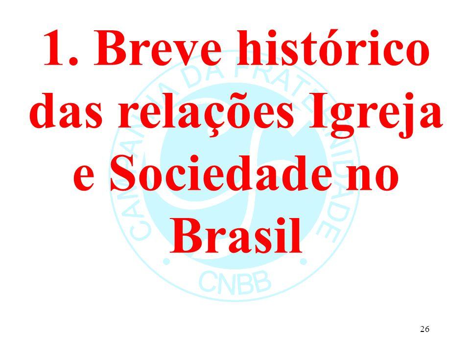 1. Breve histórico das relações Igreja e Sociedade no Brasil