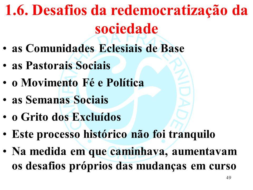 1.6. Desafios da redemocratização da sociedade