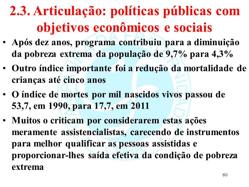 2.3. Articulação: políticas públicas com objetivos econômicos e sociais