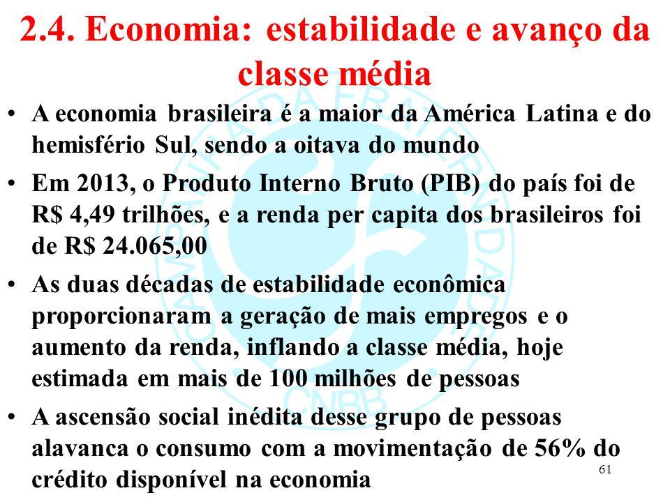 2.4. Economia: estabilidade e avanço da classe média