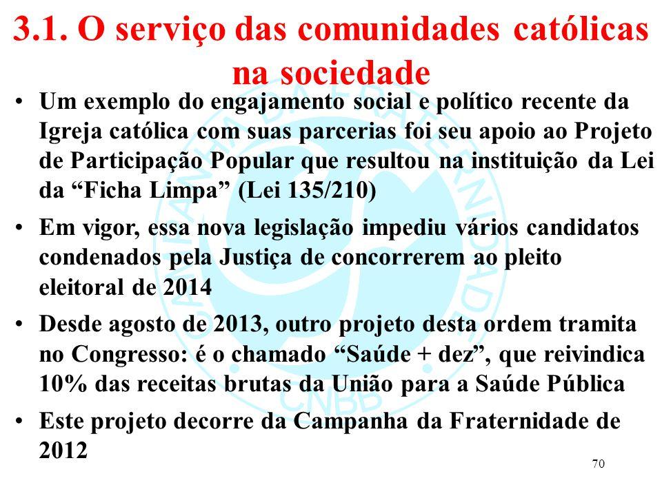 3.1. O serviço das comunidades católicas na sociedade