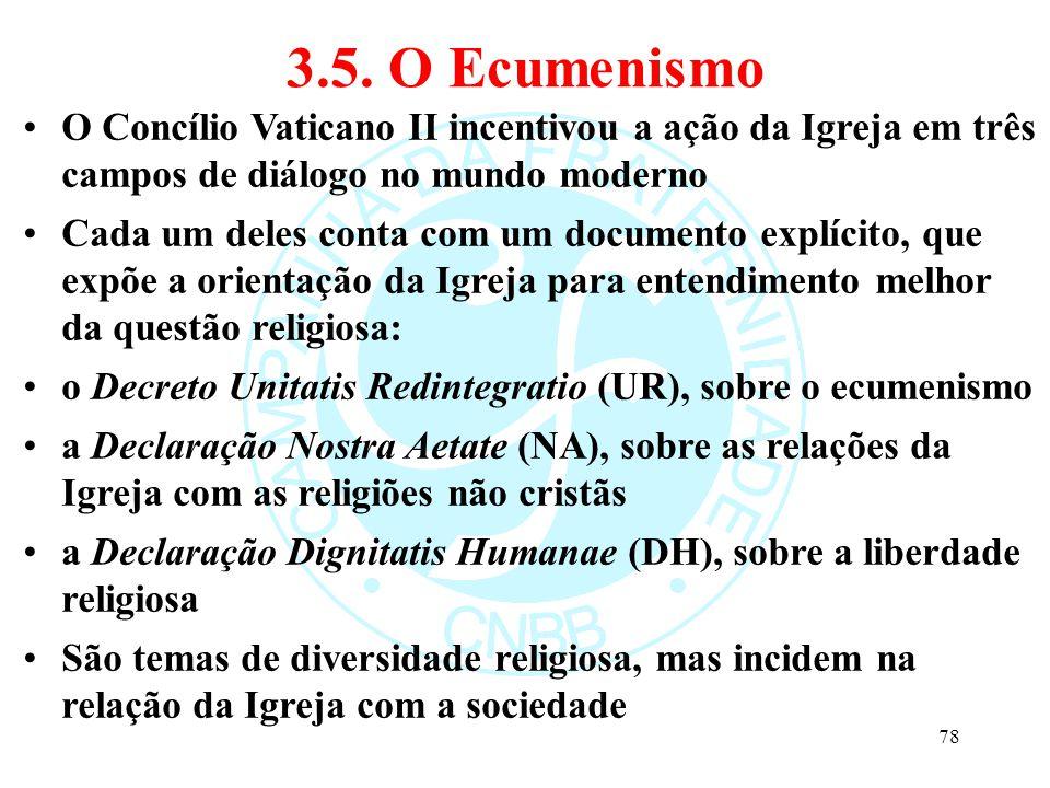 3.5. O Ecumenismo O Concílio Vaticano II incentivou a ação da Igreja em três campos de diálogo no mundo moderno.