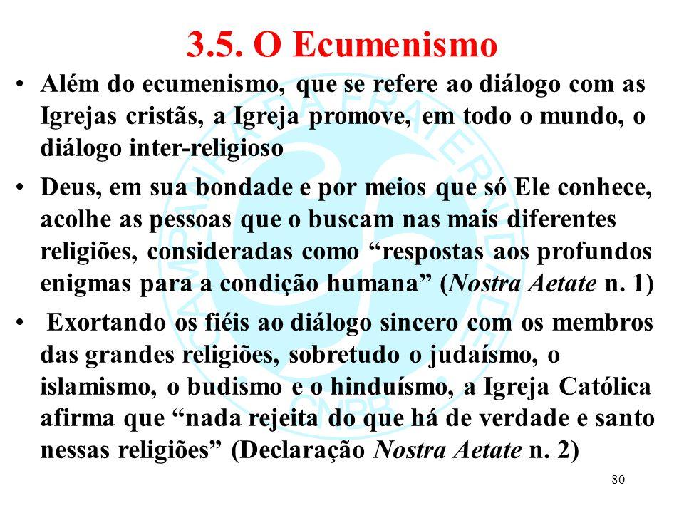3.5. O Ecumenismo Além do ecumenismo, que se refere ao diálogo com as Igrejas cristãs, a Igreja promove, em todo o mundo, o diálogo inter-religioso.