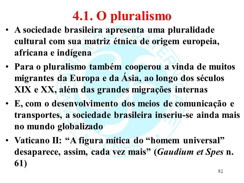 4.1. O pluralismo A sociedade brasileira apresenta uma pluralidade cultural com sua matriz étnica de origem europeia, africana e indígena.