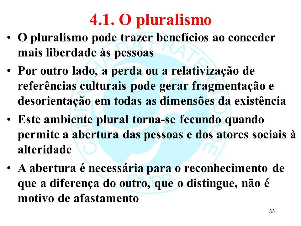 4.1. O pluralismo O pluralismo pode trazer benefícios ao conceder mais liberdade às pessoas.