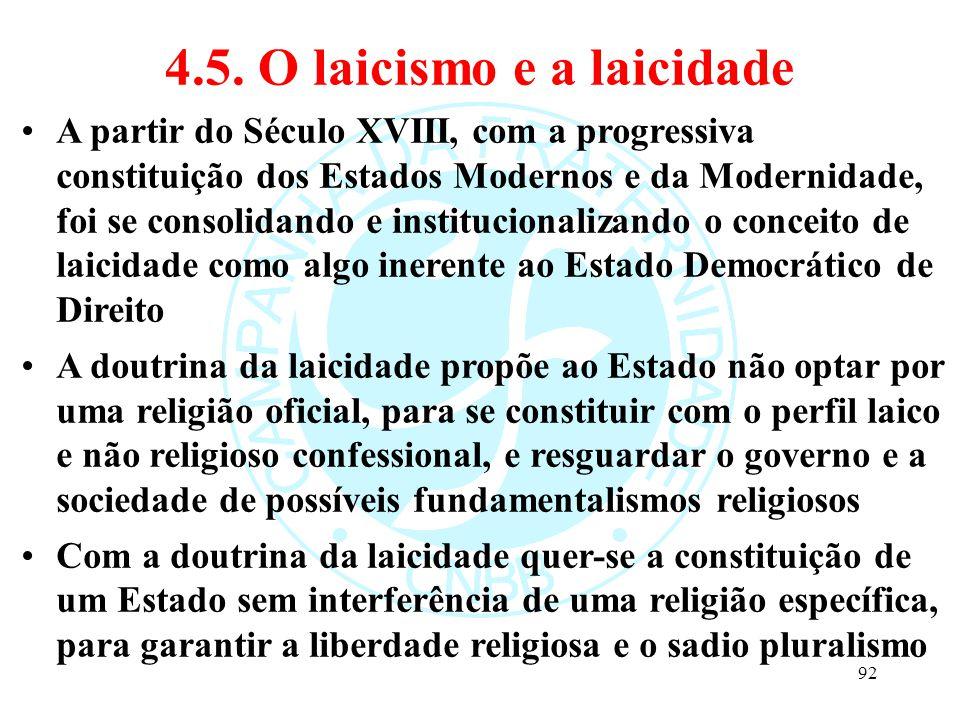 4.5. O laicismo e a laicidade