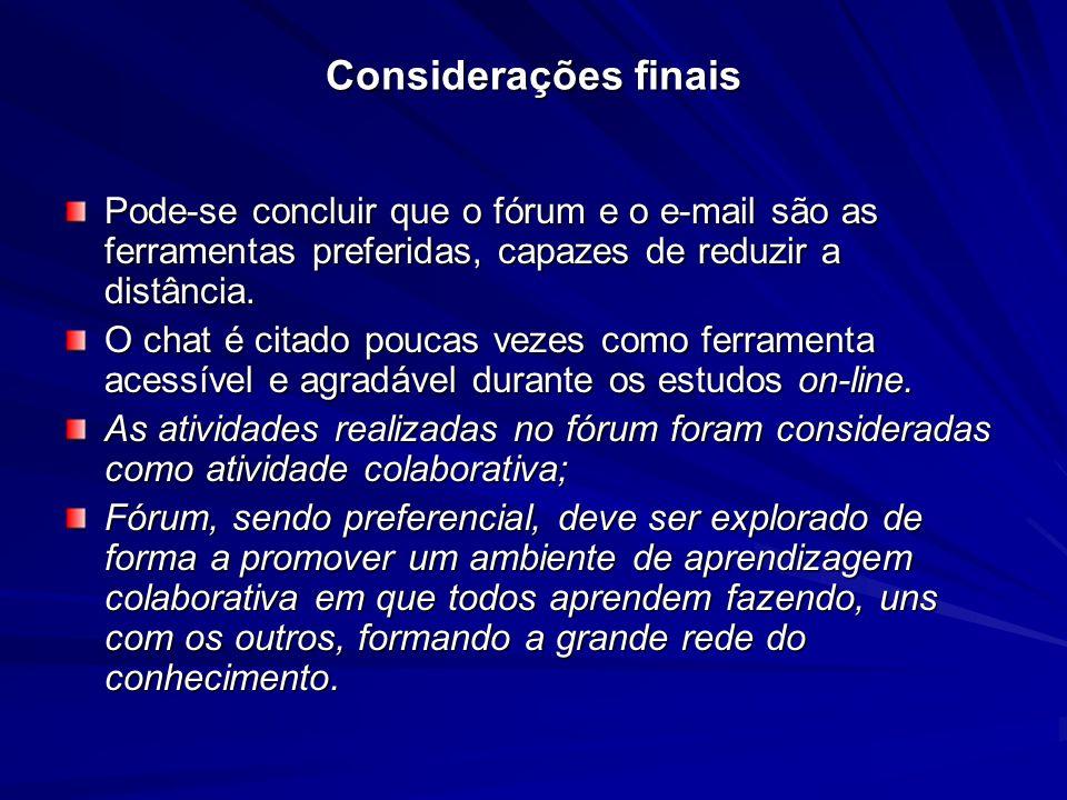 Considerações finais Pode-se concluir que o fórum e o e-mail são as ferramentas preferidas, capazes de reduzir a distância.