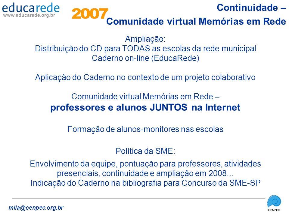 2 7 Continuidade – Comunidade virtual Memórias em Rede