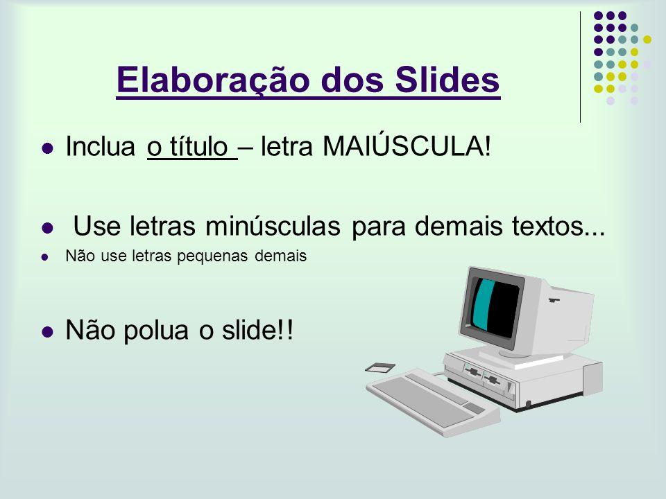 Elaboração dos Slides Inclua o título – letra MAIÚSCULA!