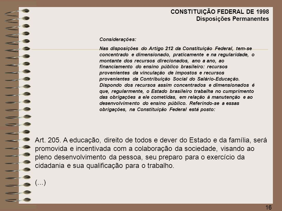 CONSTITUIÇÃO FEDERAL DE 1998