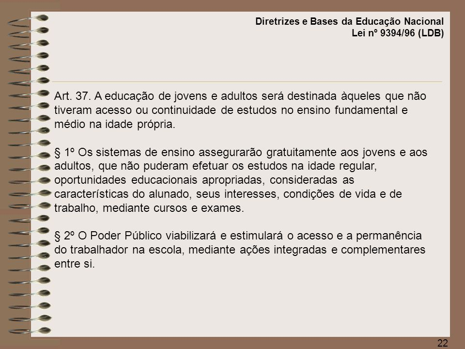Diretrizes e Bases da Educação Nacional Lei nº 9394/96 (LDB)