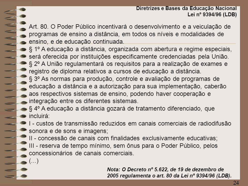 II - concessão de canais com finalidades exclusivamente educativas;