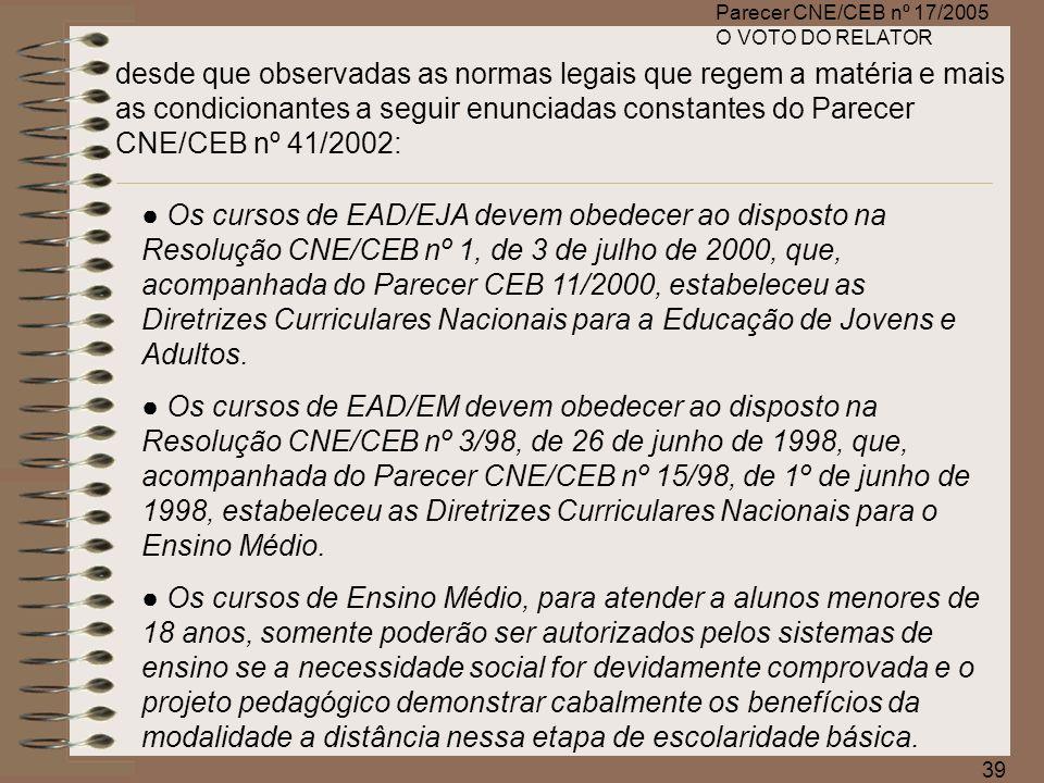 Parecer CNE/CEB nº 17/2005 O VOTO DO RELATOR