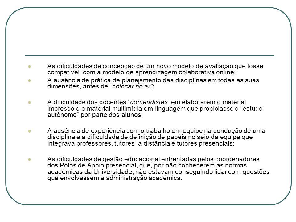 As dificuldades de concepção de um novo modelo de avaliação que fosse compatível com a modelo de aprendizagem colaborativa online;