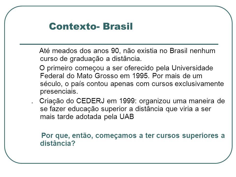 Contexto- Brasil Até meados dos anos 90, não existia no Brasil nenhum curso de graduação a distância.