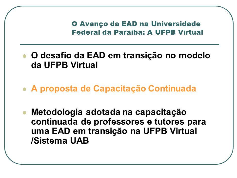 O Avanço da EAD na Universidade Federal da Paraíba: A UFPB Virtual