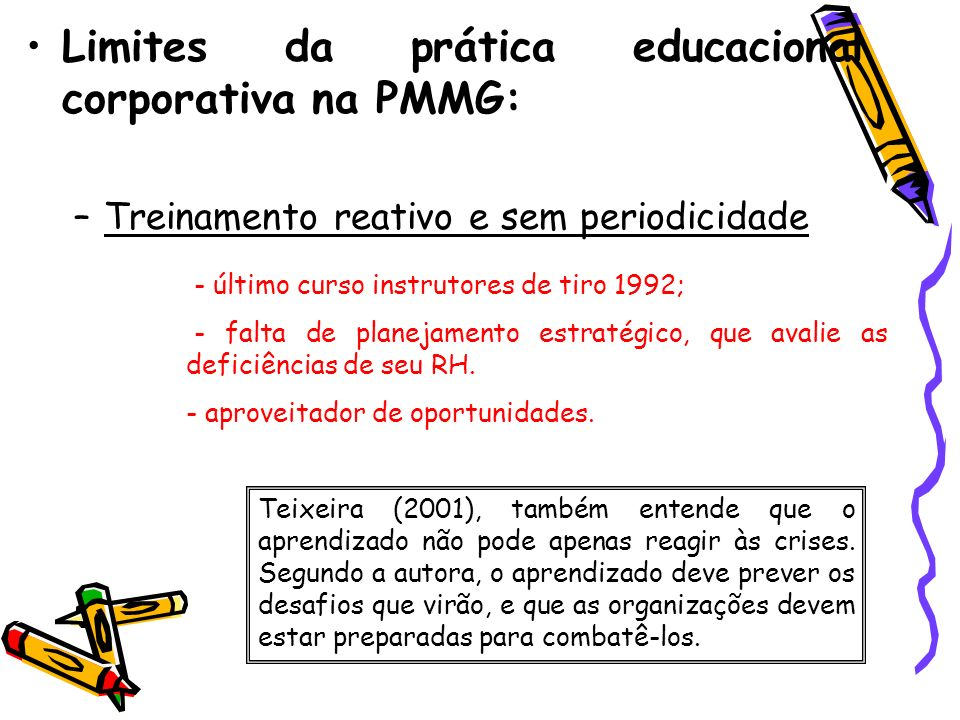 Limites da prática educacional corporativa na PMMG: