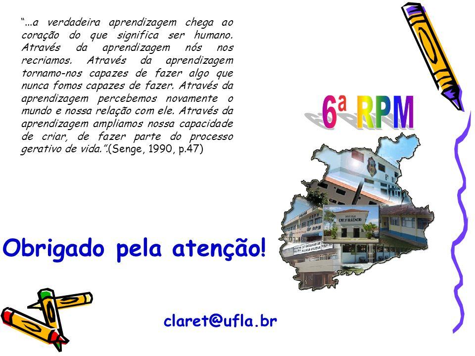 6ª RPM Obrigado pela atenção! claret@ufla.br
