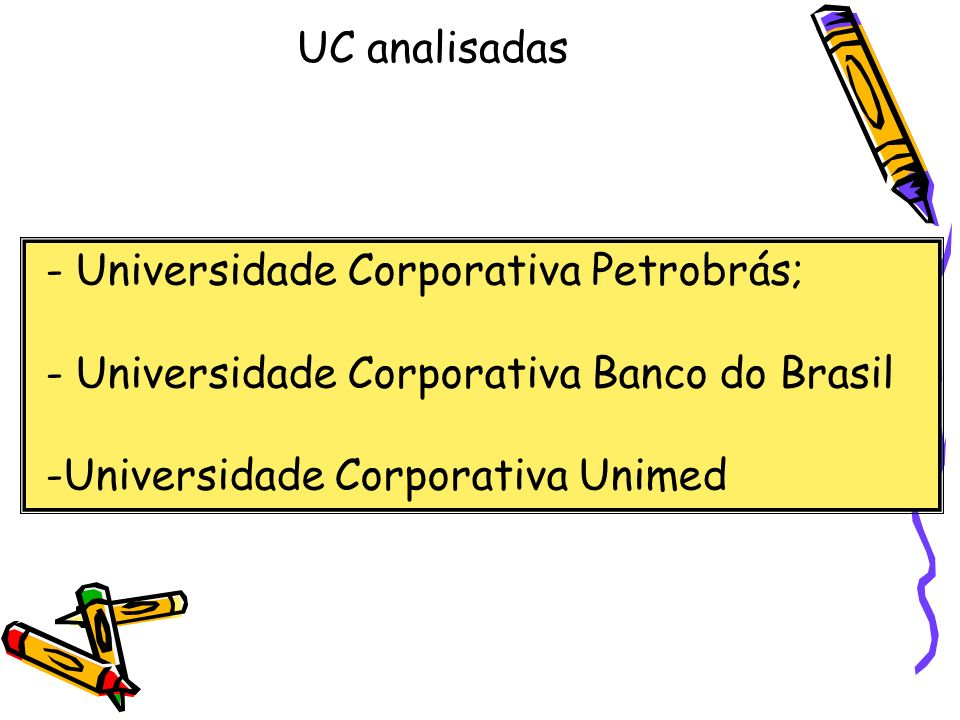 UC analisadas - Universidade Corporativa Petrobrás; - Universidade Corporativa Banco do Brasil -Universidade Corporativa Unimed.