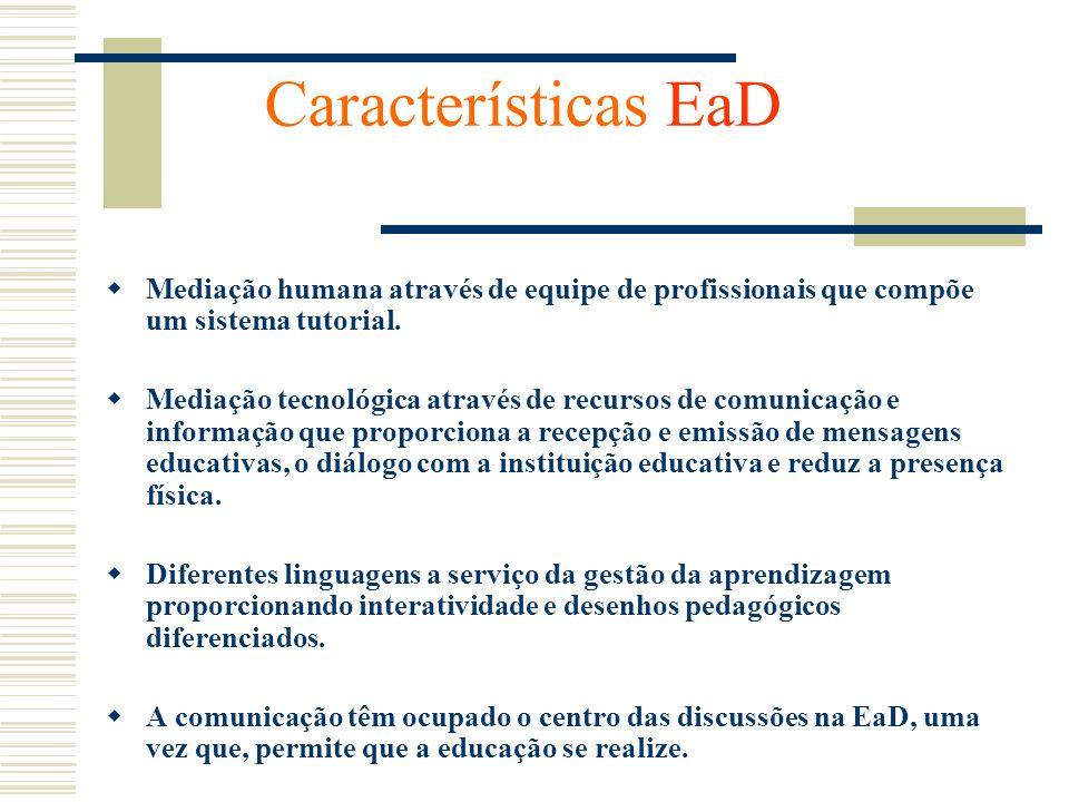 Características EaD Mediação humana através de equipe de profissionais que compõe um sistema tutorial.