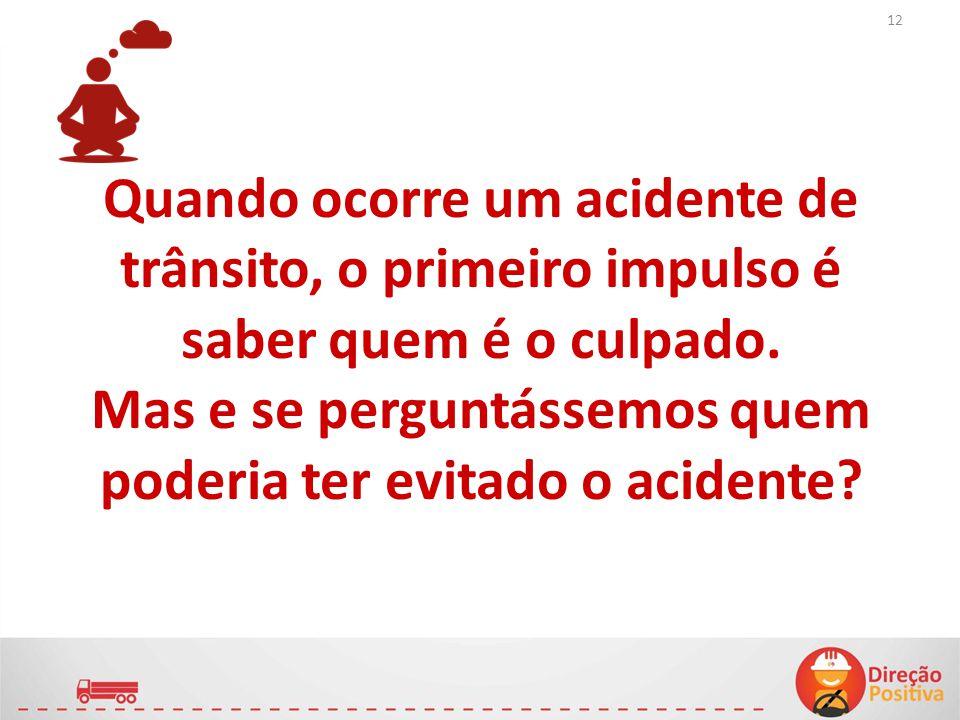Quando ocorre um acidente de trânsito, o primeiro impulso é saber quem é o culpado.