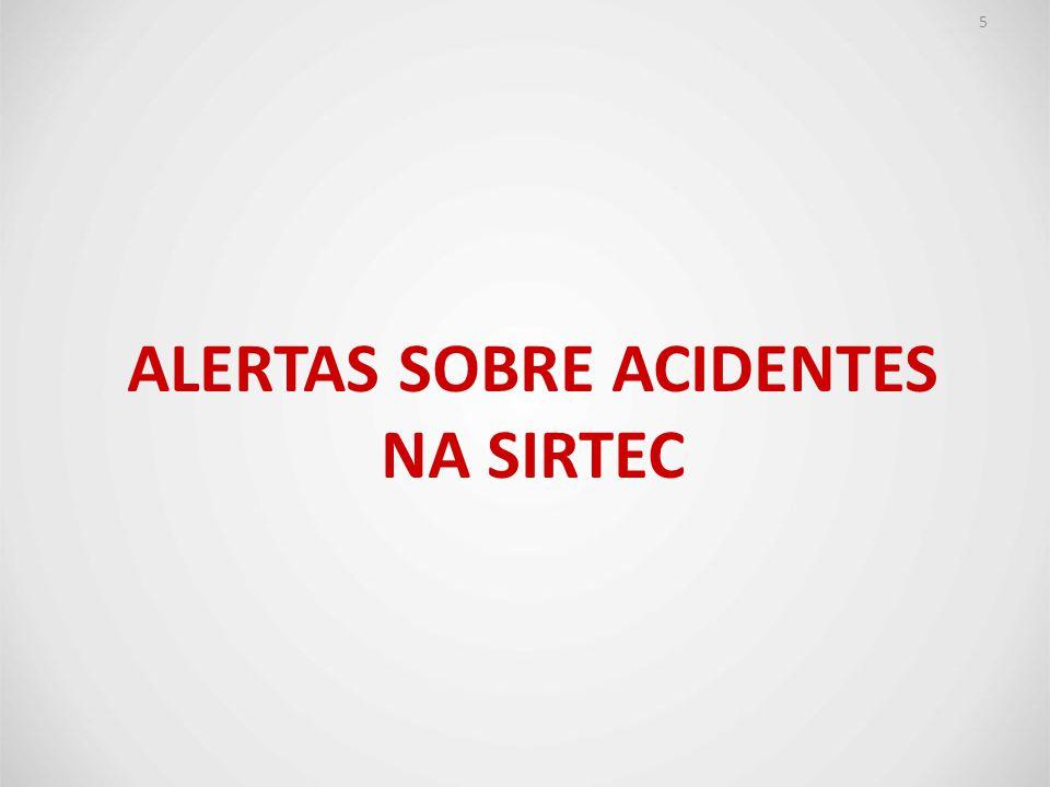 Alertas sobre acidentes na SIRTEC