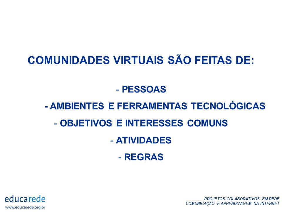 COMUNIDADES VIRTUAIS SÃO FEITAS DE: