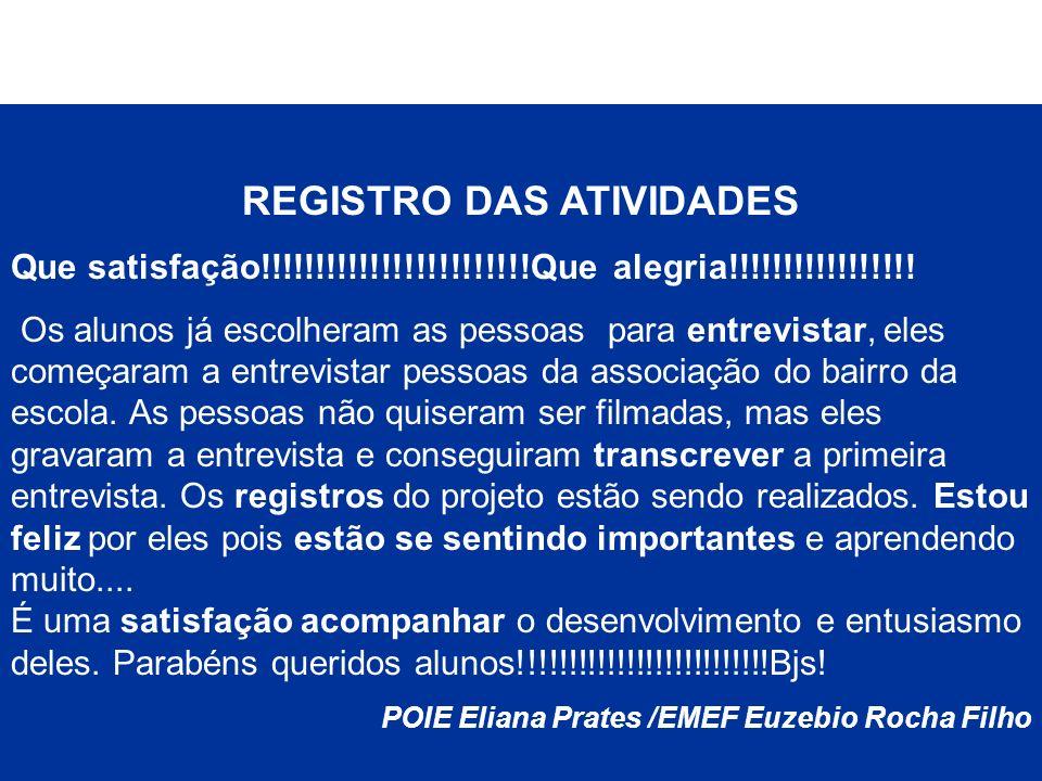 REGISTRO DAS ATIVIDADES