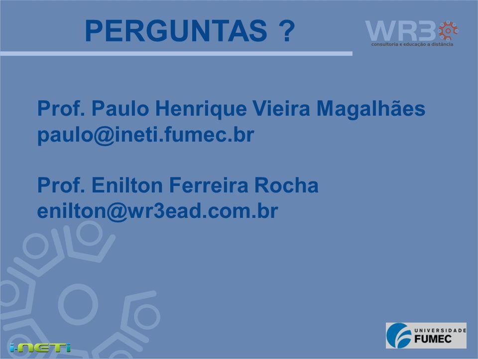 PERGUNTAS Prof. Paulo Henrique Vieira Magalhães paulo@ineti.fumec.br