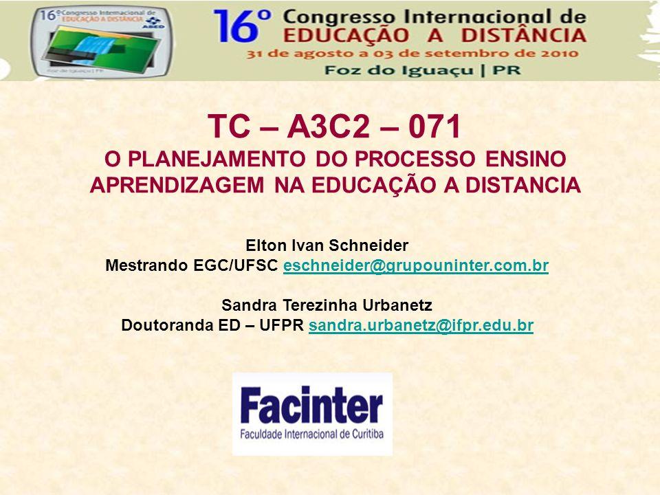 TC – A3C2 – 071 O PLANEJAMENTO DO PROCESSO ENSINO APRENDIZAGEM NA EDUCAÇÃO A DISTANCIA. Elton Ivan Schneider.