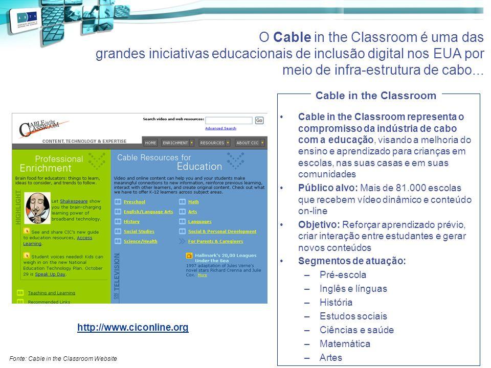 O Cable in the Classroom é uma das grandes iniciativas educacionais de inclusão digital nos EUA por meio de infra-estrutura de cabo...