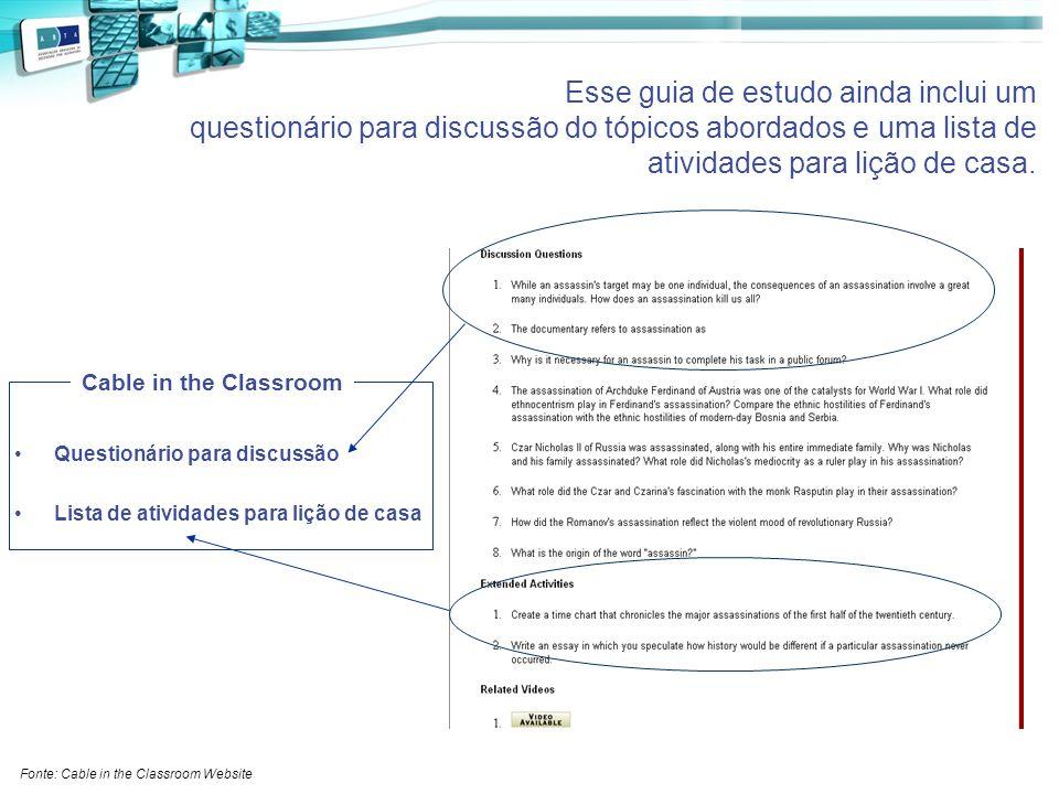 Esse guia de estudo ainda inclui um questionário para discussão do tópicos abordados e uma lista de atividades para lição de casa.