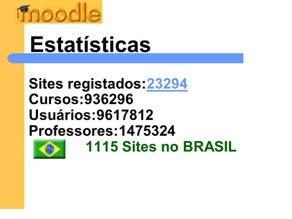 Estatísticas Sites registados:23294 Cursos:936296 Usuários:9617812 Professores:1475324 1115 Sites no BRASIL.