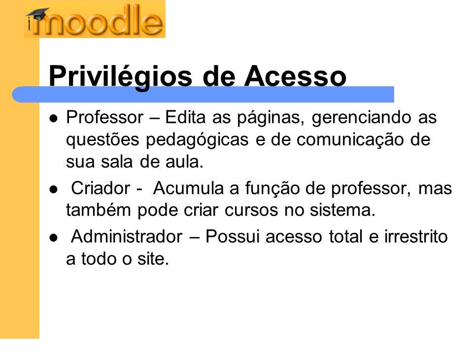 Privilégios de Acesso Professor – Edita as páginas, gerenciando as questões pedagógicas e de comunicação de sua sala de aula.