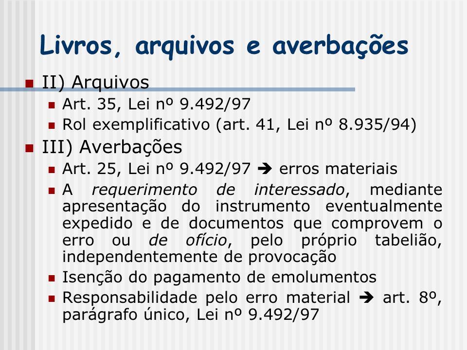 Livros, arquivos e averbações