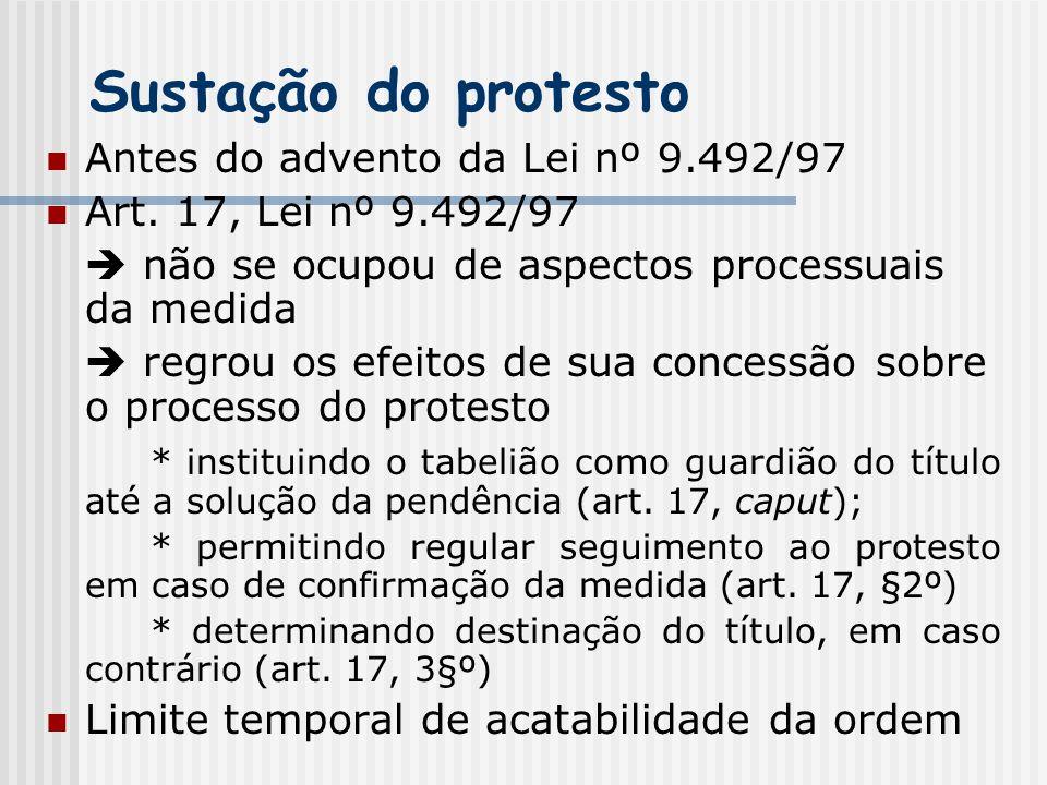 Sustação do protesto Antes do advento da Lei nº 9.492/97