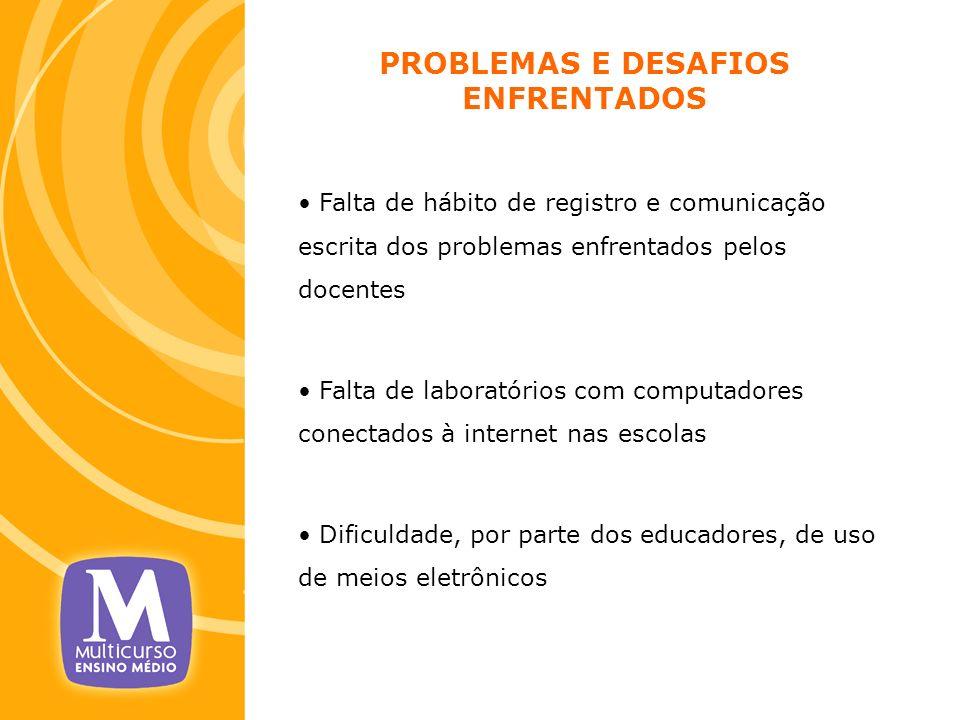 PROBLEMAS E DESAFIOS ENFRENTADOS