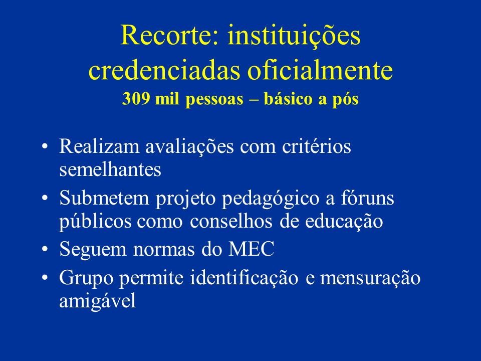 Recorte: instituições credenciadas oficialmente 309 mil pessoas – básico a pós