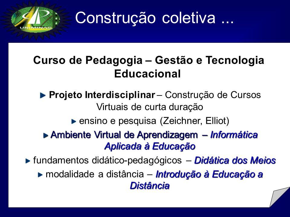 Construção coletiva ...Curso de Pedagogia – Gestão e Tecnologia Educacional.