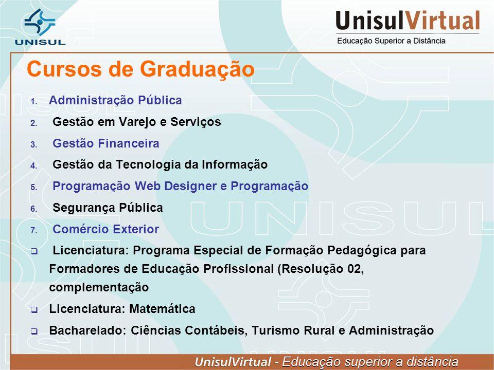 Cursos de Graduação Administração Pública Gestão em Varejo e Serviços