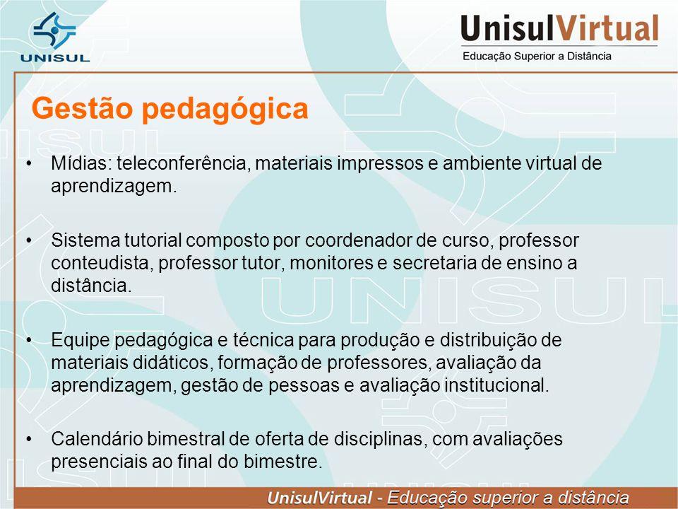 Gestão pedagógica Mídias: teleconferência, materiais impressos e ambiente virtual de aprendizagem.