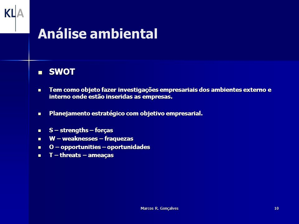 Análise ambiental SWOT